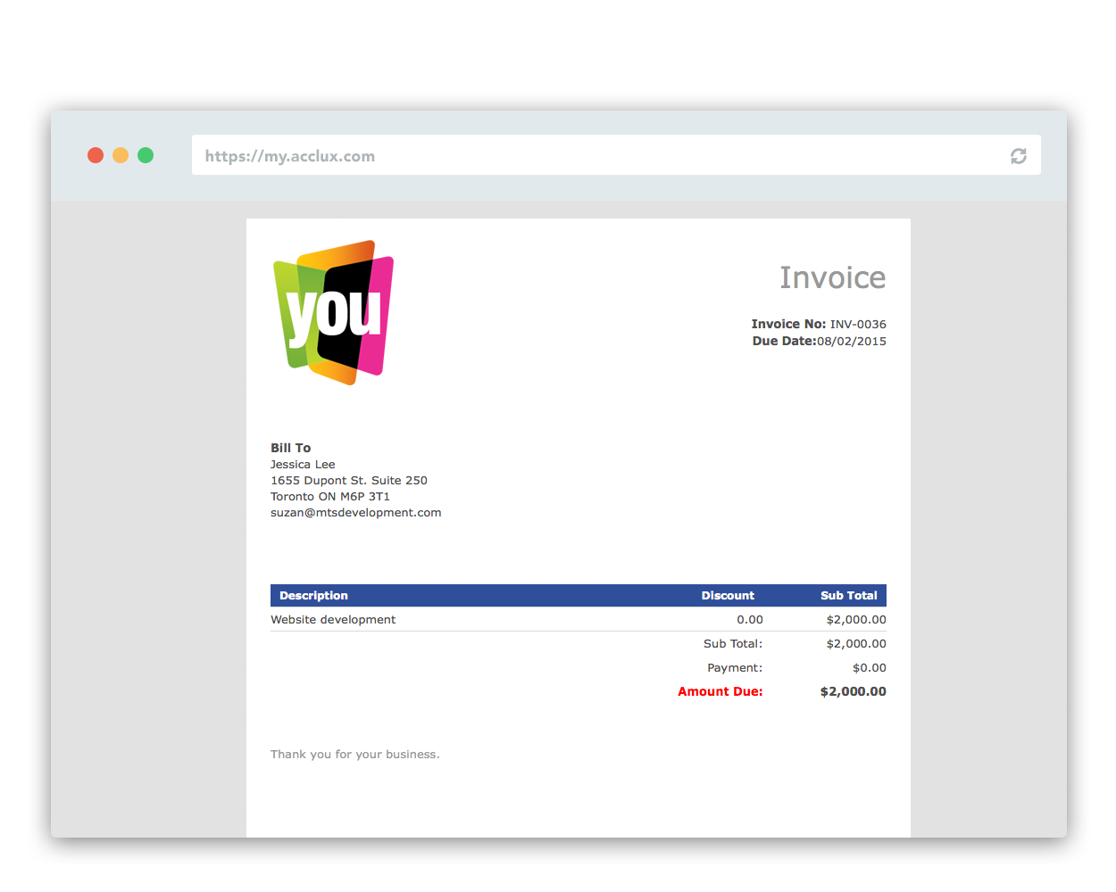 Client Invoice Portal to get paid online with acclux and paypal