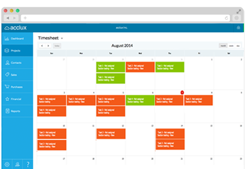 acclux accounting calendar view